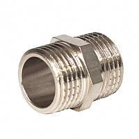 """Нипель никелированный равный  1/2"""" под прокладку (д15мм) . (20/300)"""