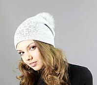 Модная женская вязаная шапка с меховым бубоном