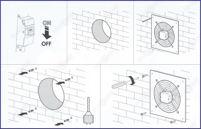 Монтаж (внутренний или наружный) аксиального вентиляторвапроизводства ВЕНТС серии ОВ