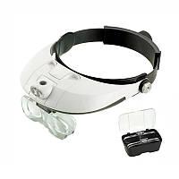 Бинокулярная лупа с LED подсветкой MAGNIFIER 81001-G Увеличение 1X — 6X