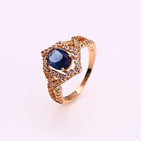 Кольцо 12335 размер 16, синий камень, позолота 18К