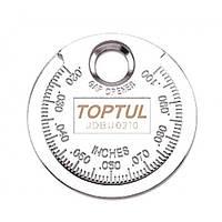 """Щуп -""""монета"""" для измерения зазора между электродами свечи Toptul"""