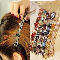 Разноцветные стразы кристалл гравий сплав заколки для волос заколка