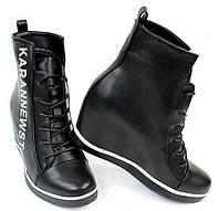 Сникерсы женские, высокие на шнуровке  размеры 40