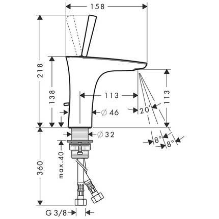 Смеситель для раковины, однорычажный HANSGROHE PuraVida (15074400), фото 2