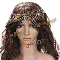 Леди головной убор камня бирюзы Золотая повязка для волос манжеты цепи