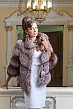 """Полушубок жилет из золоченой чернобурки """"Рита"""" silver fox fur coat jacket vest gilet, фото 5"""