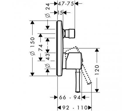 Сместитель для ванны, однорычажный, врезной (наруж.часть) HANSGROHE Talis Classic (14146000), фото 2