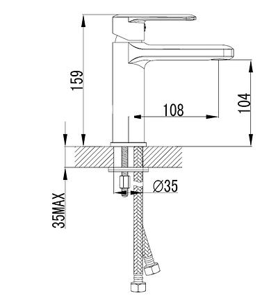 Смеситель для раковины, хром, 26 мм VOLLE FIESTA (15151100), фото 2