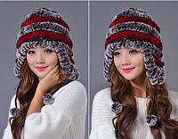 Шапка ушанка из меха.Женская шапка из кролика с красными полосками