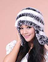 Шапка ушанка из меха.Женская шапка из кролика с белыми полосками