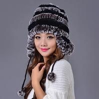 Шапка ушанка из меха.Женская шапка из кролика с чёрными полосками