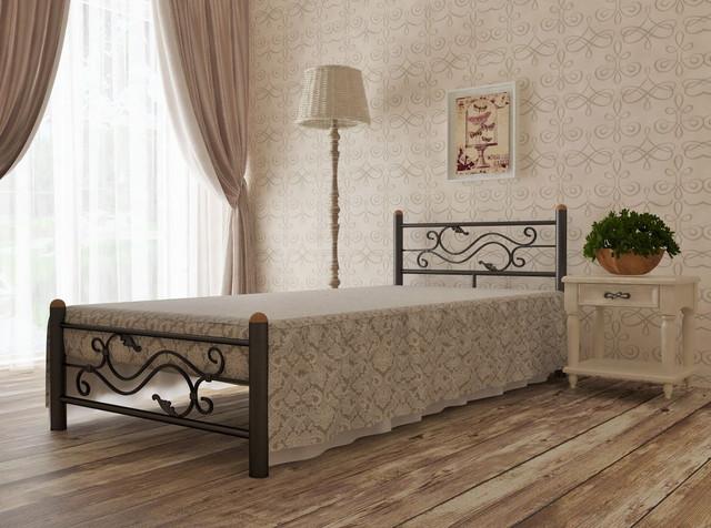 Кровать односпальная металлическая Соната (коричневая)