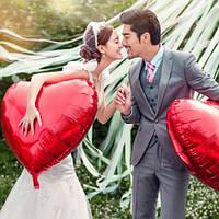 """Большой воздушный шар из фольги """"Сердце"""" (цвет: красный) 5 шт."""