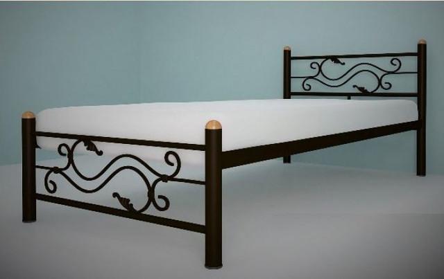 Кровать односпальная металлическая Соната коричневая (металлические ламели)