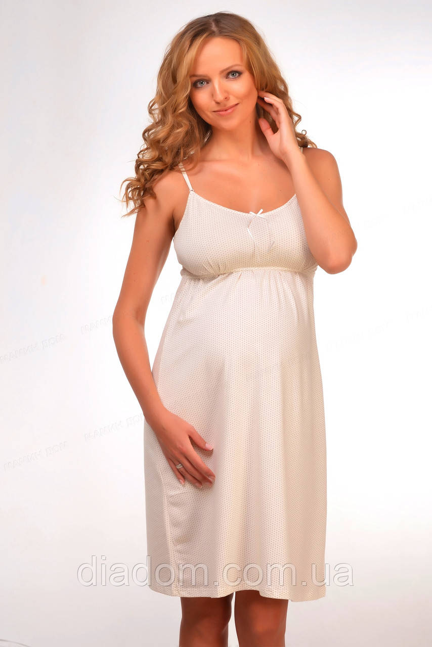 """Ночная рубашка """"Milky Way"""" для беременных и кормящих на бретелях. Молочный. Коллекция """"Sweet collection"""""""