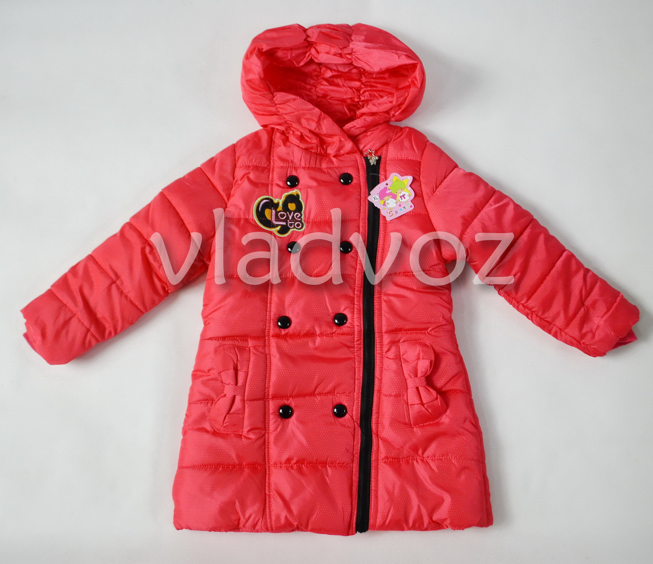 Утепленная куртка пальто для девочки коралл 8-9 лет.