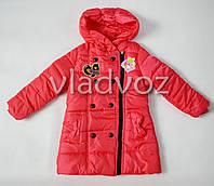 Утепленная куртка пальто для девочки коралл 9-10 лет.