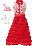Barbie Набор одежды для Барби красное платье Complete Look Fashion Pack Ombre Ruffle Gown