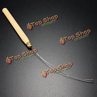 Деревянная ручка наращивание волос вытягивая крючок нитевдевателя инструмент