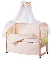 Детское постельное белье с аппликациями 8 элементов бежевое с салатовыми вставками Ellit 60806