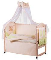 Детское постельное белье с аппликациями 8 элементов бежевое с салатовыми вставками Ellit 60808