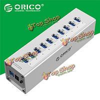 Алюминий 10 портов USB3.0 мульти-концентратор высокоскоростной 5Gbps разветвитель A3H10 Orico