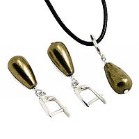 Пирит, серебро, серьги и кулон