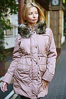 Модная женская парка на синтепоне с мехом енота норма, фото 1