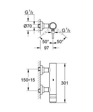 Смеситель для душа, однорычажный GROHE Atrio (32650001), фото 2