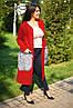 Женское кашемировое батальное пальто с накладными меховыми карманами