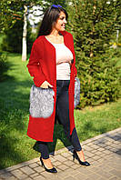 Женское кашемировое батальное пальто с накладными меховыми карманами, фото 1