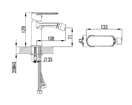 Смеситель для биде, хром, 26 мм VOLLE FIESTA (15155100), фото 2