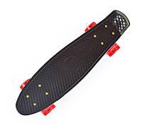 Черный Скейт Пенни Борд красные светящиеся колеса