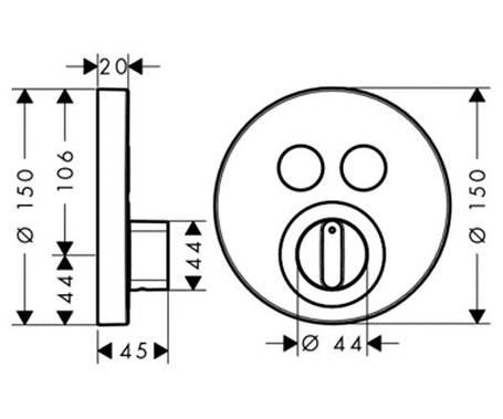 Термостат для душа (внешняя часть) HANSGROHE ShowerSelect S (15748000), фото 2