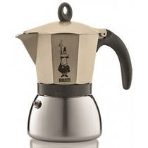 Гейзерная индукционная кофеварка Bialetti Moka express на 6 чашек (светлое золото)