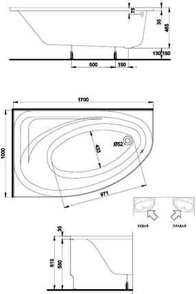 Ванна асимметричная 170*100 см, правая, белая, с ножками ДЫМЕР SPRING (XWA3070000), фото 2