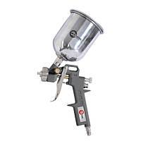 Пистолет пневматический покрасочный 1.5 мм, верхний металлический бачок 600 мл, 3-5 Атм Intertool