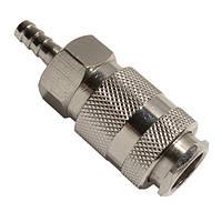 """Быстроразъемное соединение с клапаном, """"елочка"""" 6 мм Intertool"""