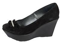 Туфли на танкетке кожаные и замшевые
