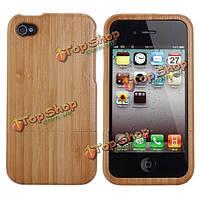 Экологический бамбук чехол с кнопками для iPhone 4 и 4S