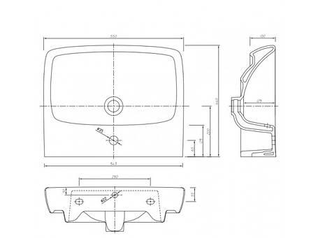Умывальник 55 cм, прямоугольный, с отверстием (пол) KOLO NOVA PRO (M31156000), фото 2