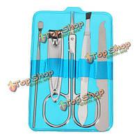 5шт Когтерез маникюр педикюр инструменты случай  установленные vibrissac ножницы пинцет для бровей уха выбора