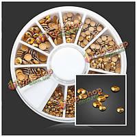 Квадратные круглые золотые заклепки металлические украшения искусства ногтя DIY колеса