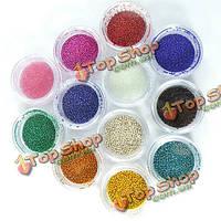 12 цветов Mini бусы жемчуг для ногтей искусство советы украшения