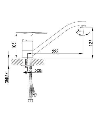 Смеситель для кухни, хром, 35 мм IMPRESE JESENIK (20140), фото 2