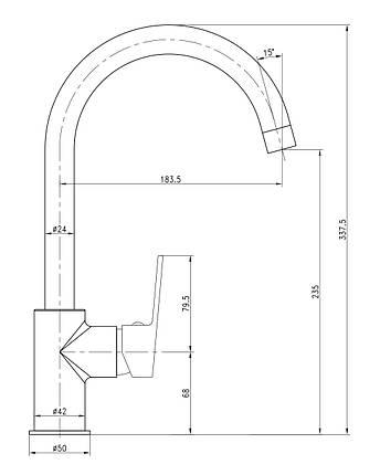 Смеситель для кухни, хром, 35мм IMPRESE LESNA (55070), фото 2