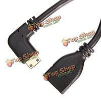 15см влево под углом Mini HDMI мужчина к женщине HDMI кабель поддержка 1080p