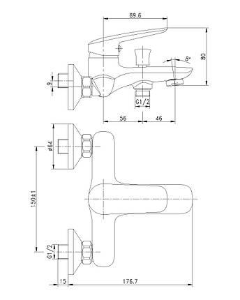 Смеситель для ванны, хром, 35 мм IMPRESE PRAHA new (10030 new), фото 2