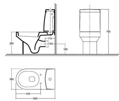 Унитаз с универсальным сливом KOLO QUATTRO K63200, фото 2